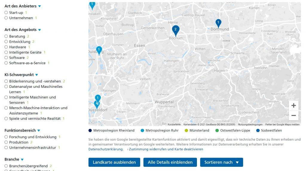 KI NRW Landkarte